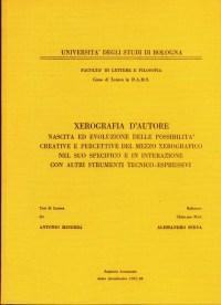 Copertina della Tesi di Laurea di Antonio Minerba - Bologna 1987-88